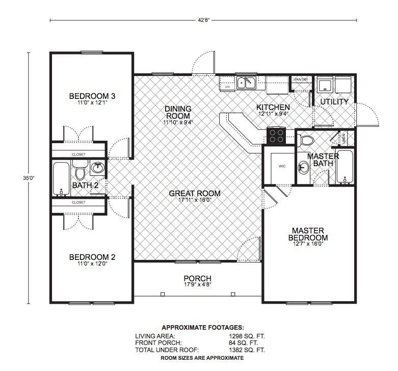 Woodcrest floor plans southwest homes for Southwest floor plans